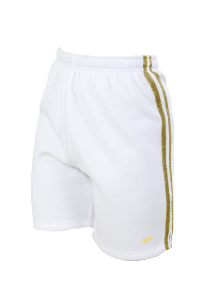 Sweats Of London Womens White Gold Stripes Sweat Shorts 2 1