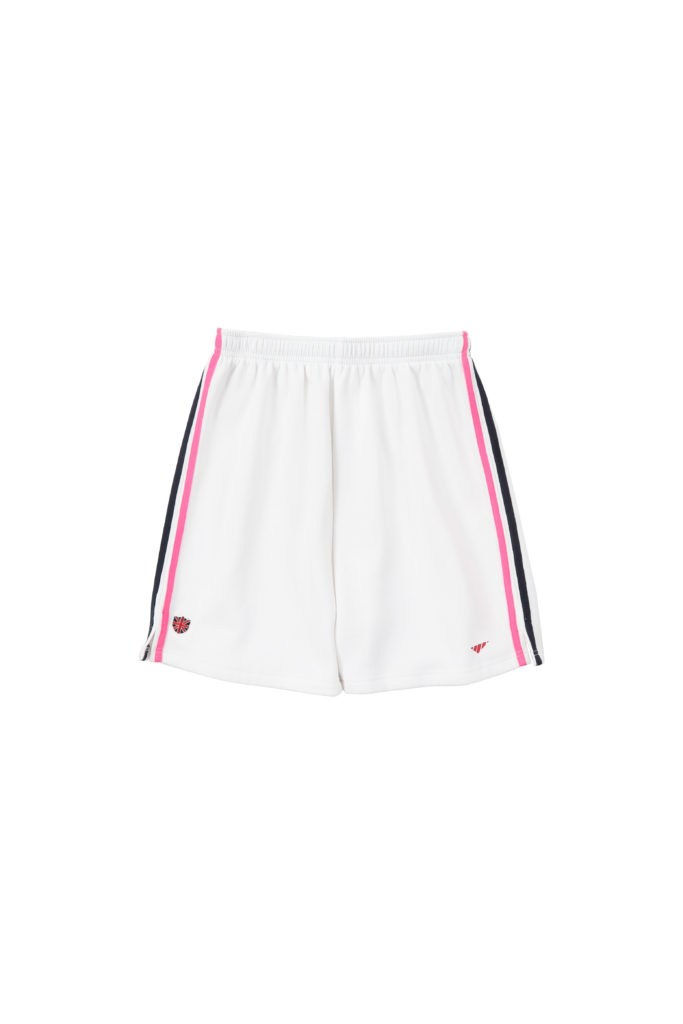 Sweats Of London Womens White Black-Pink Stripes Sweat Shorts 1