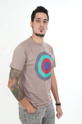 Sweats of London Taupe Grey Circles Mens T-Shirt 2